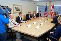U.S. Secretary of State John Kerry holds a bilateral meeting with Danish Foreign Minister Martin Lidegaard and his staff after the United States assumed a two-year chairmanship of the Arctic Council during a meeting of its eight member nations and seven Permanent Representatives in Iqaluit, Canada, just below the Arctic Circle, on April 24, 2015. [State Department photo/ Public Domain]