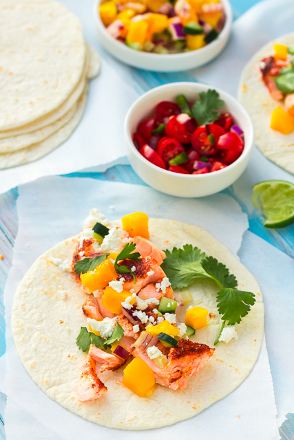 Sweet & Spicy Salmon Tacos with Mango-Cucumber Salsa