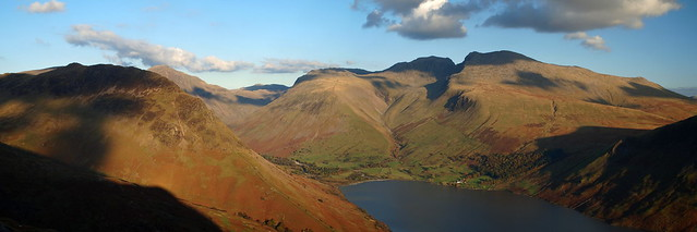 Yewbarrow, Scafell Pike, Scafell & Wast Water - from Middle Fell, Cumbria, England 21-10-12