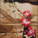 Sarah van der Helm; Orchids in Brown Paper Sack; OIl on canvas; 24x18; 2013 -