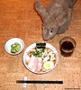 Seara (sea rabbit). Photo by Dr. Takeshi Yamada. 20120312 111 Soy Ramen. Pickled Cucumber. Black Tea