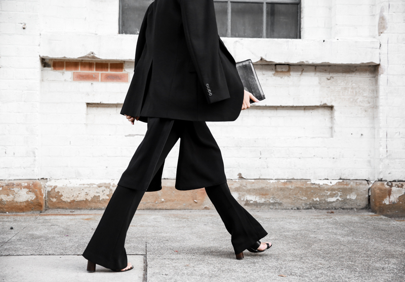 modern legacy fashion blog street style all black fashion week flares split dress over pants (1 of 1)