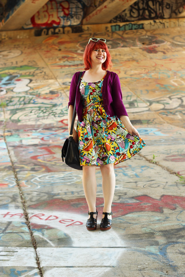 Novelty Print Pop Art Dress from Modcloth with a Purple Cardigan