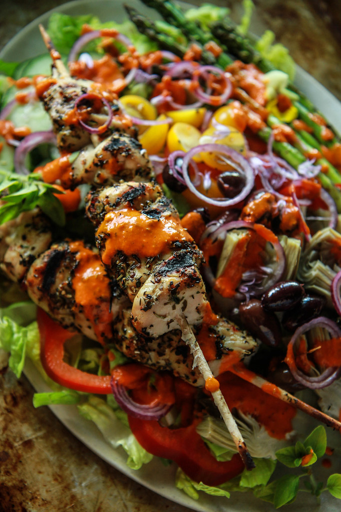 Grilled Chicken Souvlaki Greek Salad from HeatherChristo.com