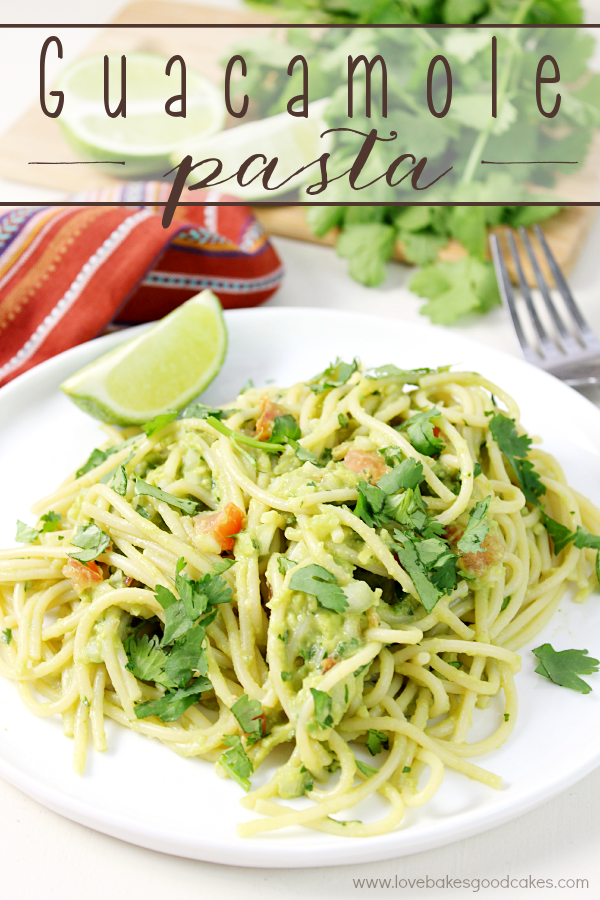 This Guacamole Pasta makes a quick, easy and fresh dinner idea! Serve it as a meatless main dish or alongside grilled chicken or steak! If you love guacamole, you will LOVE this pasta dish!