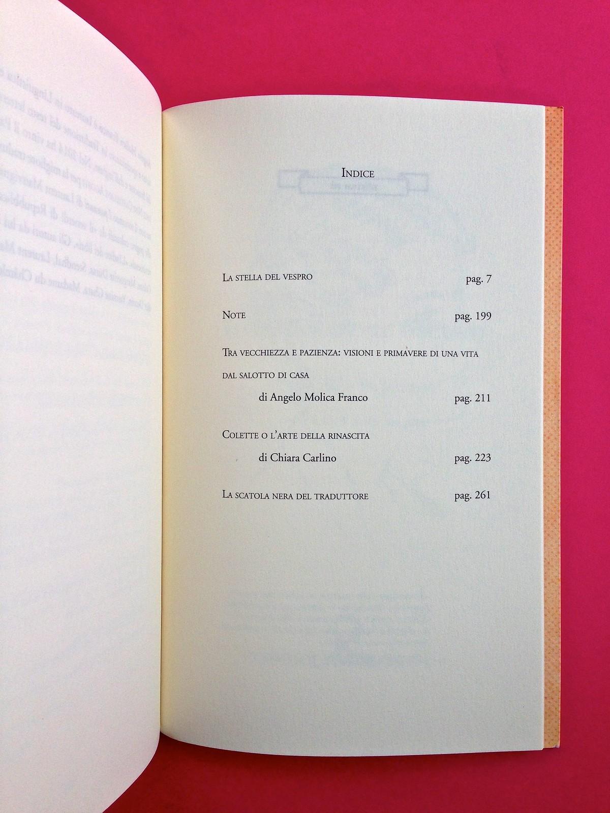 La stella del vespro, di Colette. Del Vecchio Editore 2015. Art direction, cover, illustrazioni, logo design: IFIX | Maurizio Ceccato. Indice, a pag. 271 (part.), 1