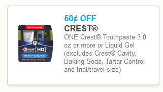 Coupon - $0.50  off Crest Toothpaste