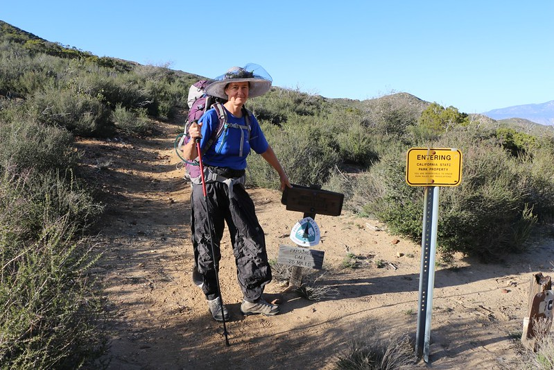 PCT trail sign at Lost Valley Road, heading uphill