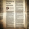 "Had a lot of press at CJFE, but this is the one I'm most proud of, public editor's column in the Saturday Toronto Star: ""Standing Up for Free Expression."""