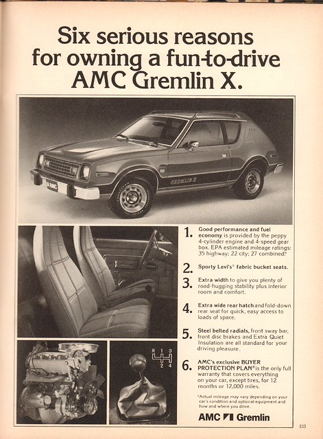 1978 American Motors AMC Gremlin X Advertisement Playboy April 1978
