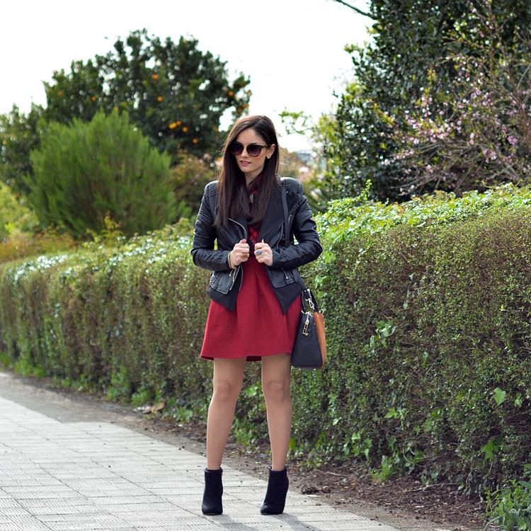 zara_ootd_outfit_falda roja_botines_sheinside_plaid_01