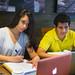 Students Arianna Lozada (left) and Fahad Alghamdi study together for their Biochemistry exam.