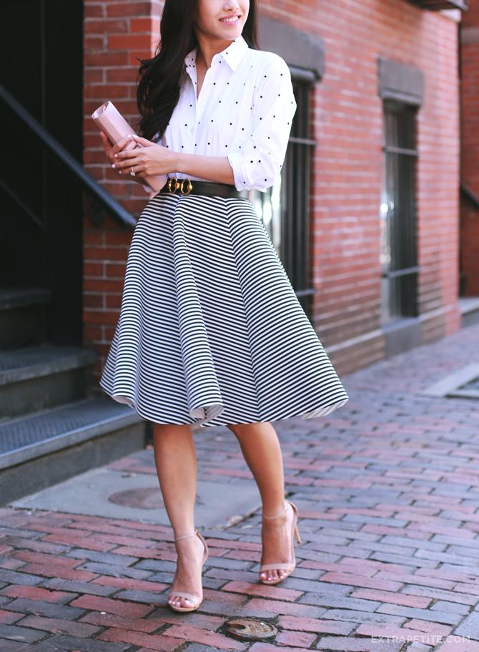Ann Taylor dot shirt stripe skirt outfit5
