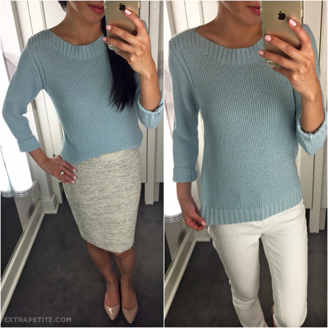 ann taylor tweed skirt sweater outfit