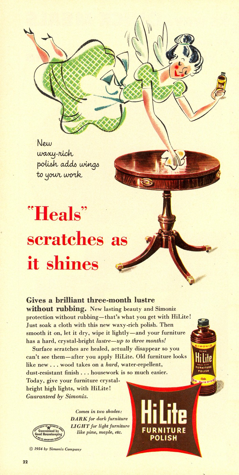 HiLite Furniture Polish - published in Woman's Day - March 1954