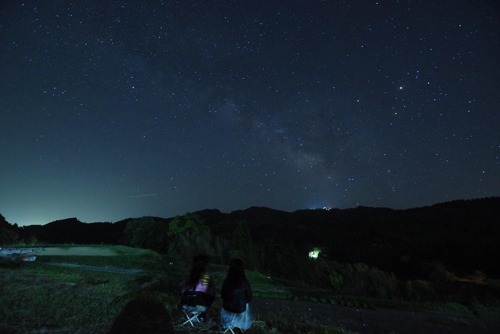 午前1時頃に娘達を起こして天の川と星空鑑賞