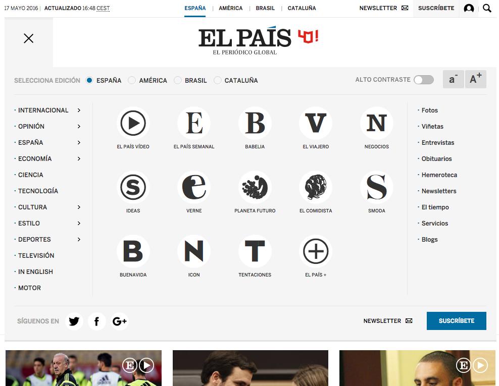 Captura del mega menú de El País