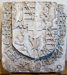 Pierre commémorative de la rentrée d'Emmanuel Philibert (1528 - 1580) duc de Savoie, dans ses Etats en 1559, mairie de Pont-de-Vaux (Ain, France)