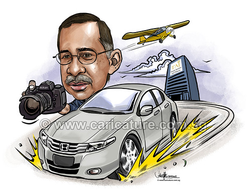 digital boss caricature driving Honda Civic Nikon D70 (watermarked)