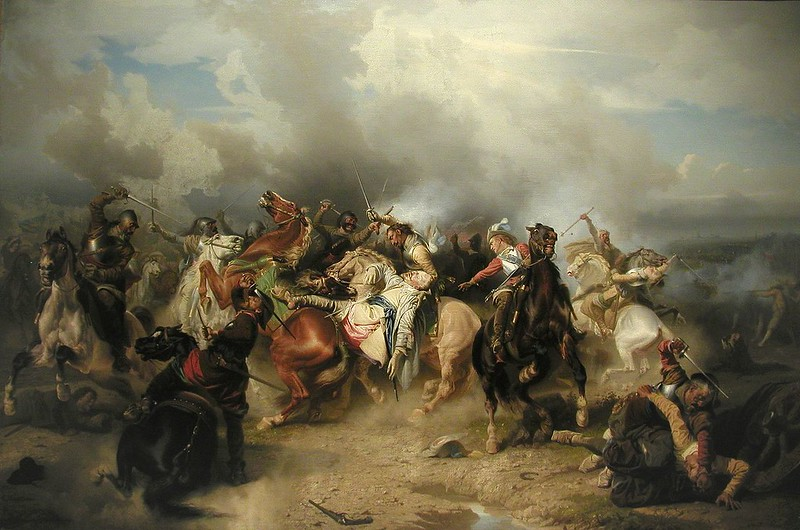 The death of King Gustavus Adolphus depicted on The Battle of Lützen by Carl Wahlbom