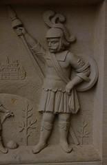 Hannover, Niedersachsen, Holzmarkt, Leibnizhaus, Erker, David & Goliath, detail