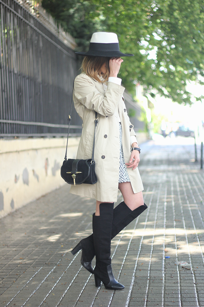 trench black and white hat black boots13