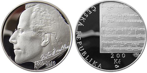 200 Kč - Dvestokoruna Česká rep. 2010 PROOF, Gustav MAHLER
