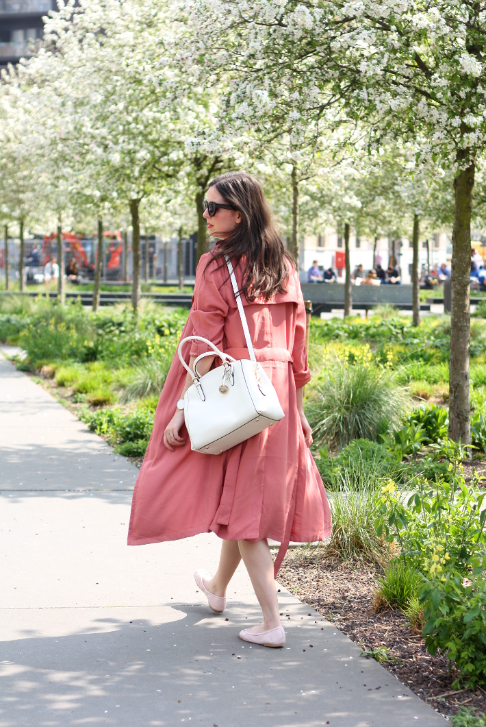 dusty rose duster coat via the Zohra x Pimkie collection
