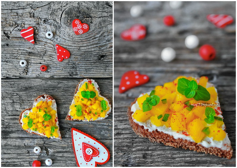 ...canapés with mango and jalapeno collage