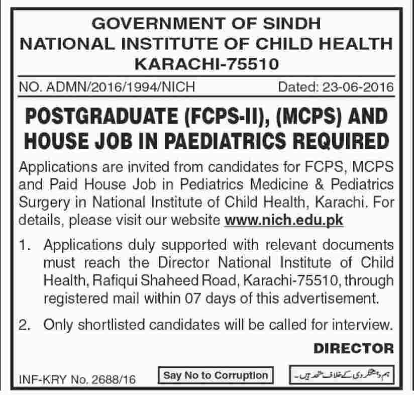 National Institute of Child Health Karachi House Job Opportunities