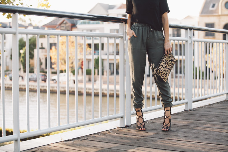 Khaki pants from Cotton On and Windsor Smith Gillie Heels
