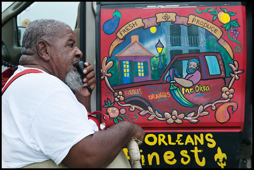Mr. Okra at Jazz Fest 2015 opening day. Photo by Ryan Hodgson-Rigsbee (rhrphoto.com)