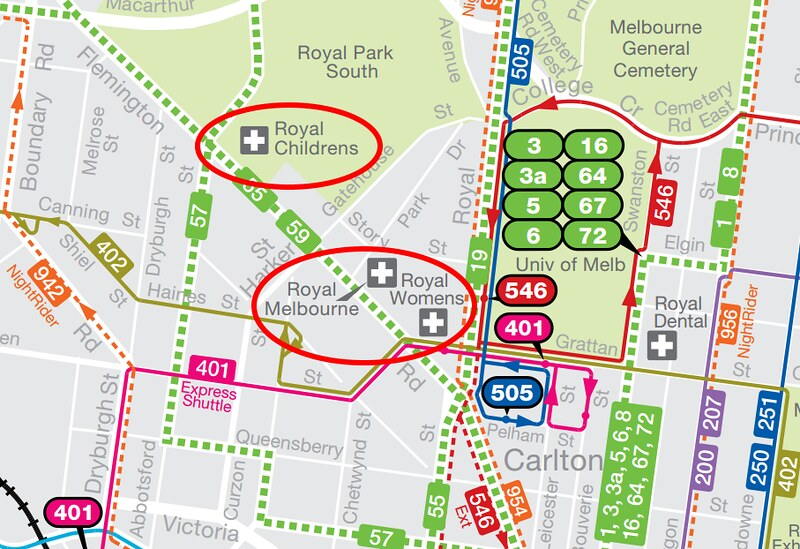 PTV map of hospital precinct. (Pointer to RMH is incorrect.)
