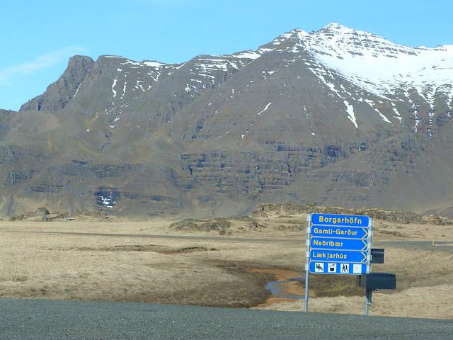Cartel de carretera en Islandia