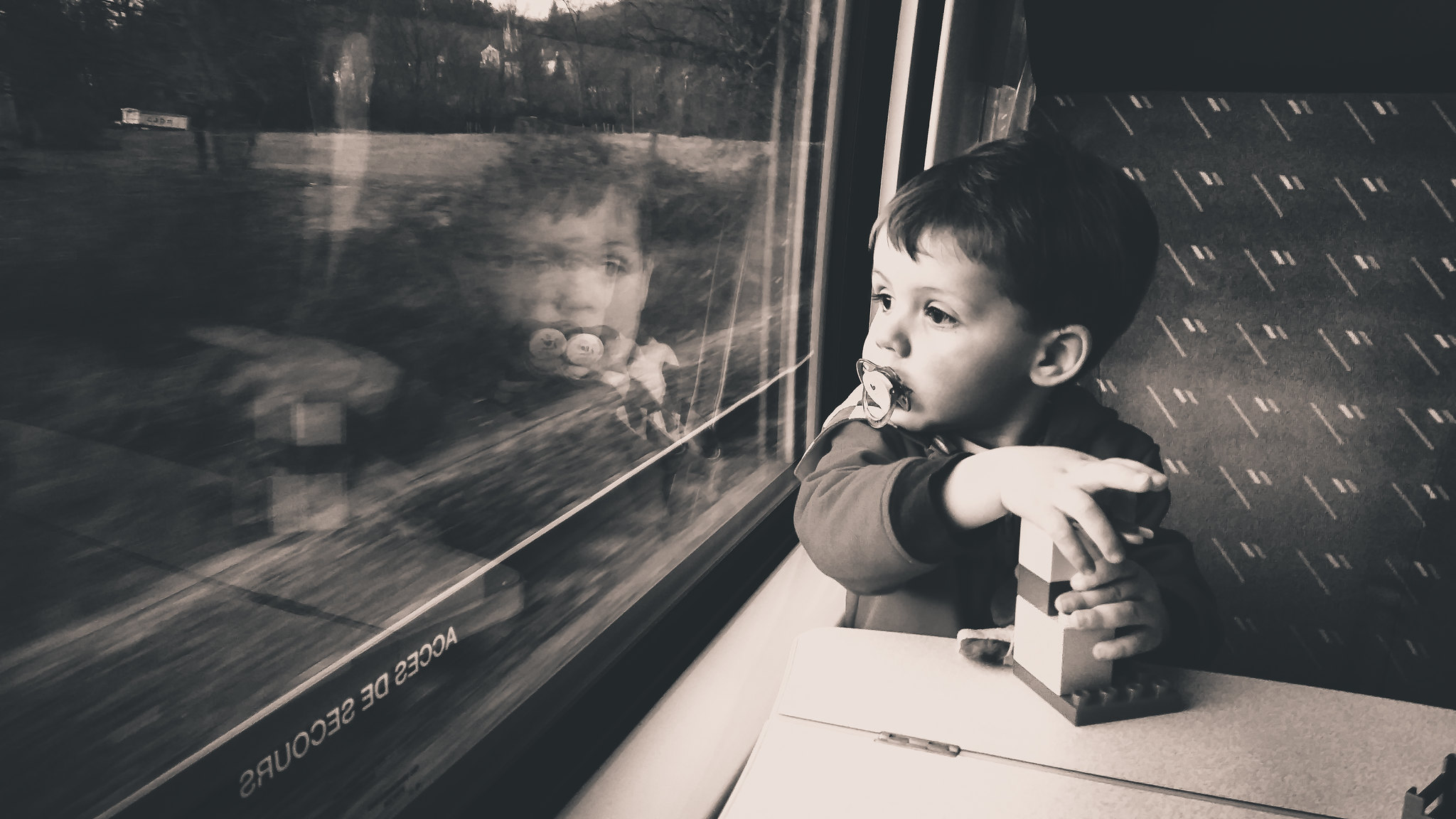 Child looking in the train