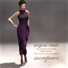 Snowpaws - Ruffle Mesh Dress - Eggplant