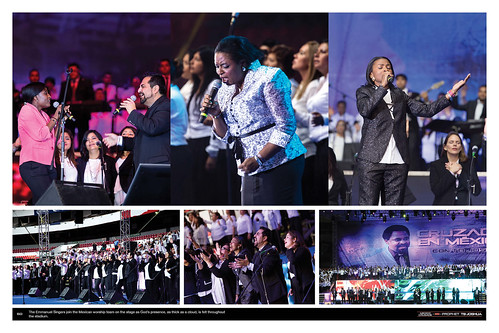 The Emmanuel Singers join the Mexican worship team on the stage as God's presence, as thick as a cloud, is felt throughout the stadium.