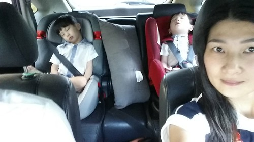 Sleeping boys in the car.