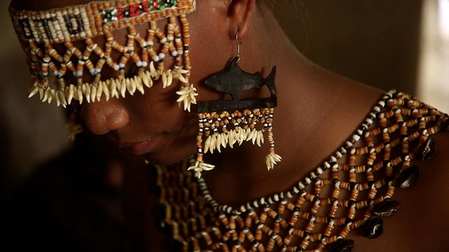 Photo:Bridal jewelry dolphin teeth shell money, Solomon Islands. Photo by Wade Fairley By WorldFish
