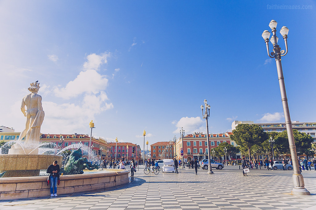 The beautiful Place Massena in Nice