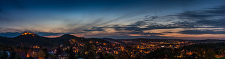 Gambar dari Wartburg dekat Eisenach. blue panorama hour wartburg eisenach blaue stunde