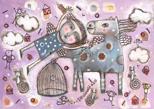 """BLUE PONY AND FLYING GIRL""...SOLD"