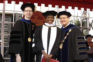 USC Provost Michael Quick, Honorary Degree Recipient and Commencement Speaker Mellody Hobson, and USC President C. L. Max Nikias