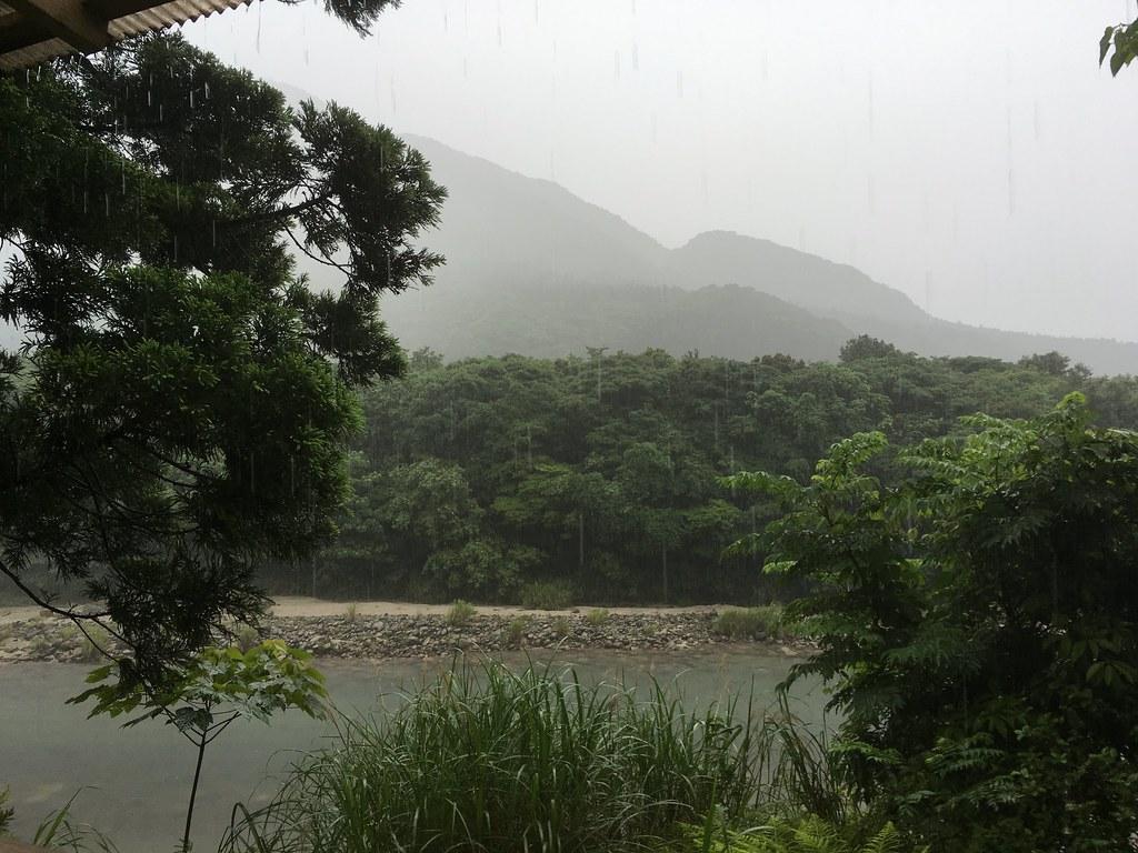 早朝にじゃんじゃん降る雨