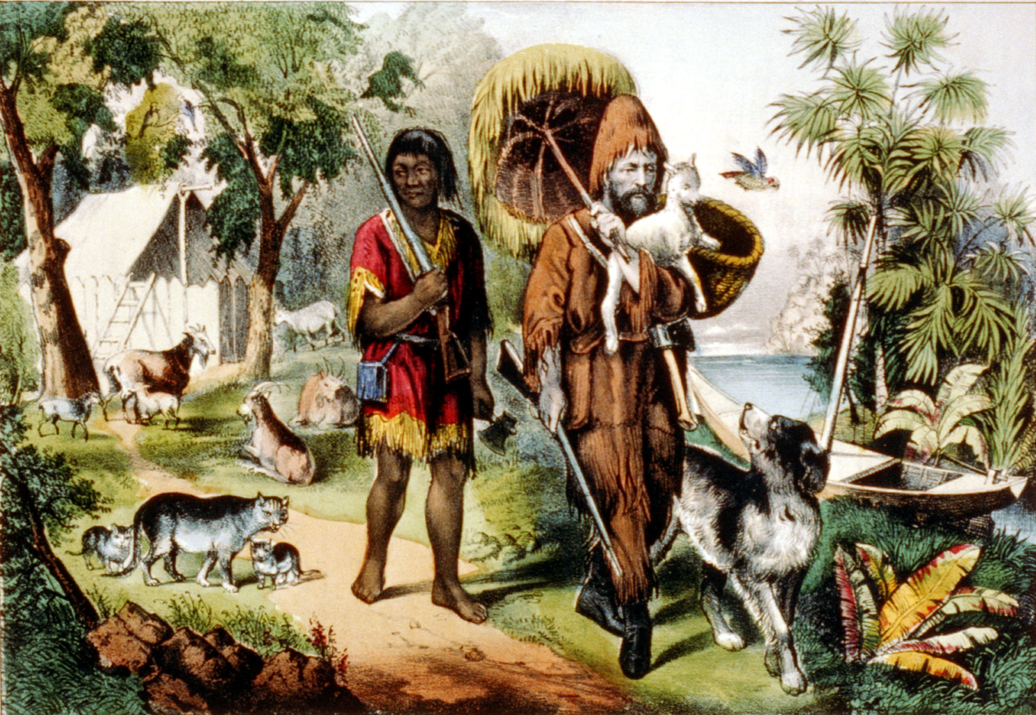 Robinson Crusoe and man Friday, 1874