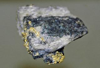 Gold-bornite-quartz hydrothermal vein (Field's Vein, Dahlonega Mining District, Dahlonega Gold Belt, Lumpkin County, Georgia, USA)
