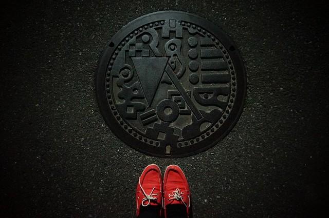 Manhole in Hakata, Fukuoka
