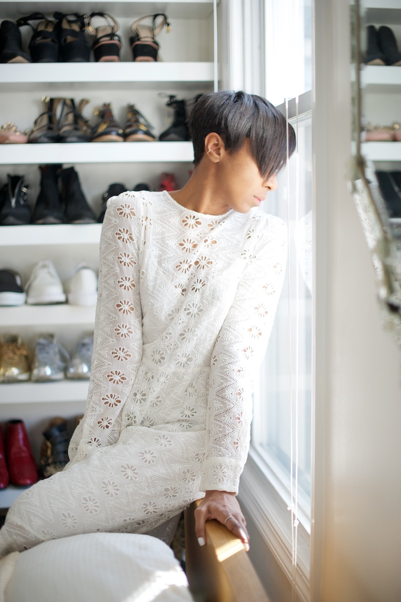 white vintage lace dress