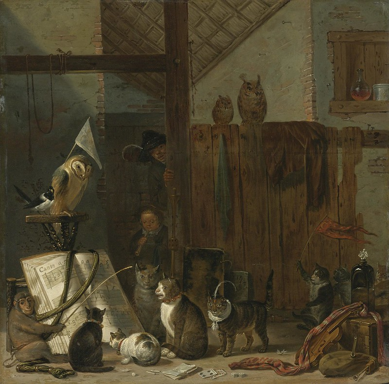 Cornelis Saftleven - A Concert Of Cats, Owls, A Magpie And A Monkey In A Barn