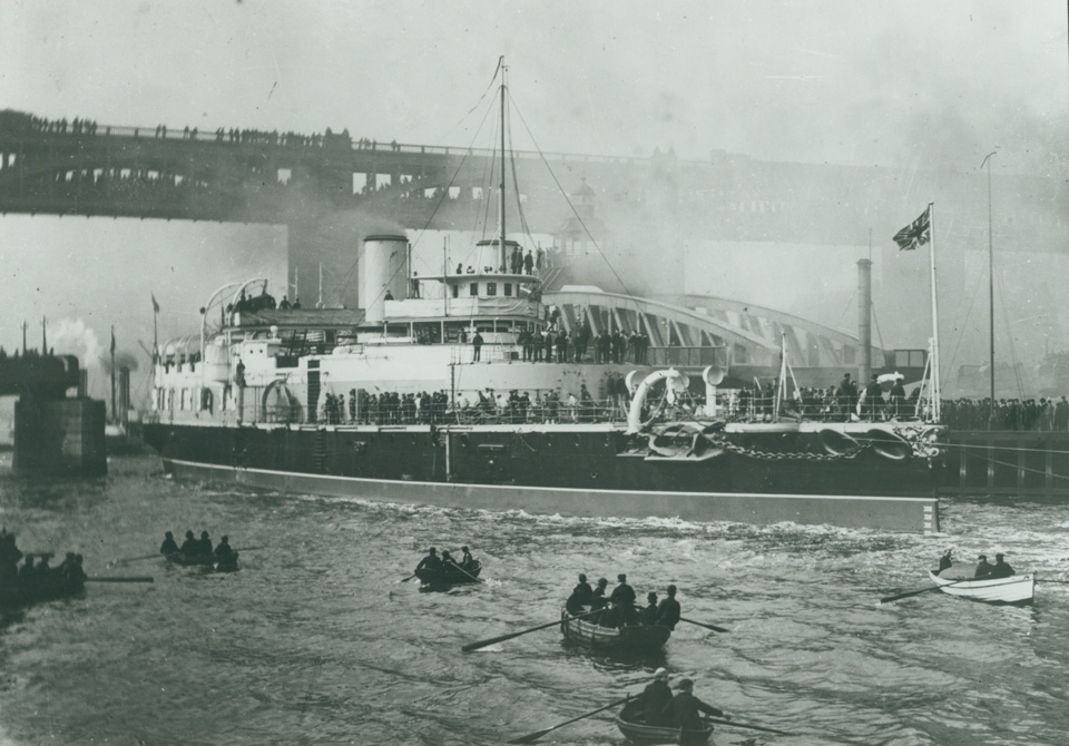 HMS Victoria on the River Tyne